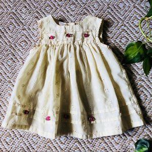 Vintage Pale Yellow Eyelet Dress